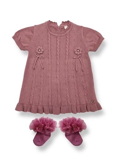 By Leyal For Kids Mevsimlik Triko Kısa Kol Elbise Ve Fırfırlı Çorap-4011 Lila